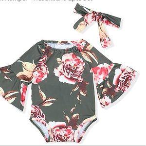 Other - NewBorn Floral Bodysuit+Headnband 2pcs  Jumpsuit